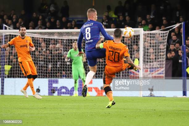 Ross Barkley Chelsea's and Vieirinha PAOK's in action during the UEFA Europa League Group L match between Chelsea and PAOK at Stamford Bridge on...