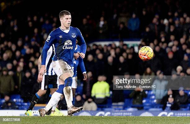 Ross Barkley chips in his second penalty during the Barclays Premier League match between Everton and Newcastle United at Goodison Park on February 3...