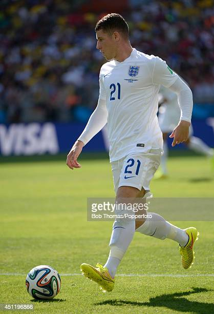 Ross Barkley in action for England during the 2014 FIFA World Cup Brazil Group D match between Costa Rica and England at Estadio Mineirao on June 24...