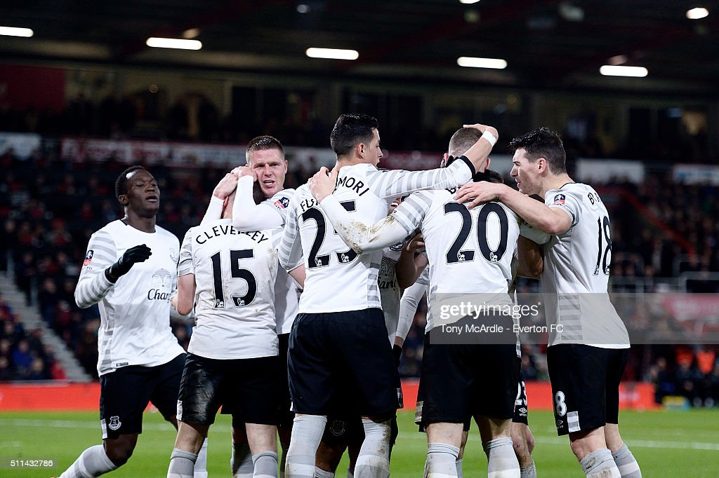 Ross Barkley is congratulated by his team mates after he scores during the The Emirates FA Cup Fifth Round match between AFC Bournemouth v Everton at the Vitality Stadium on February 20, 2016 in Bournemouth, England.