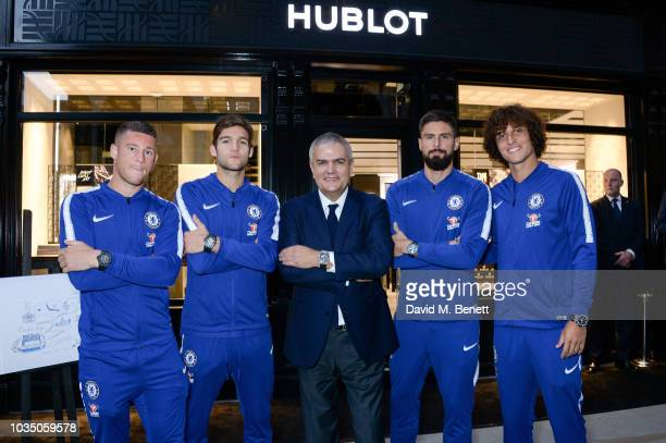 Ross Barkley Marcos Alonso CEO of Hublot Ricardo Guadalupe Olivier Giroud and David Luiz attend Hublot London Flagship Boutique Opening Event on...