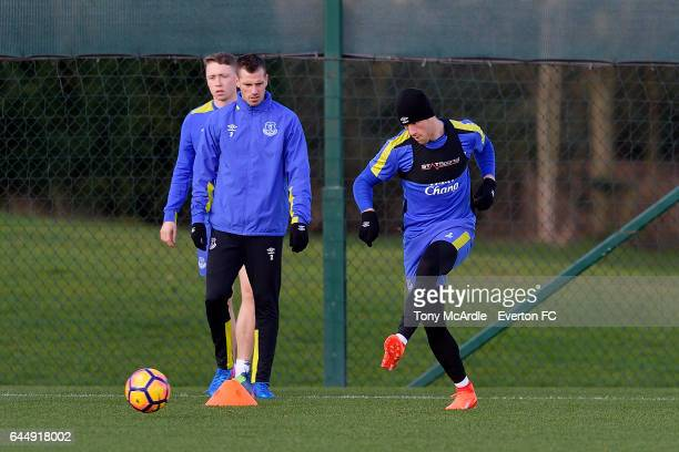 Ross Barkley Morgan Schneiderlin and Matthew Pennington during the Everton FC training session at USM Finch Farm on February 24 2017 in Halewood...