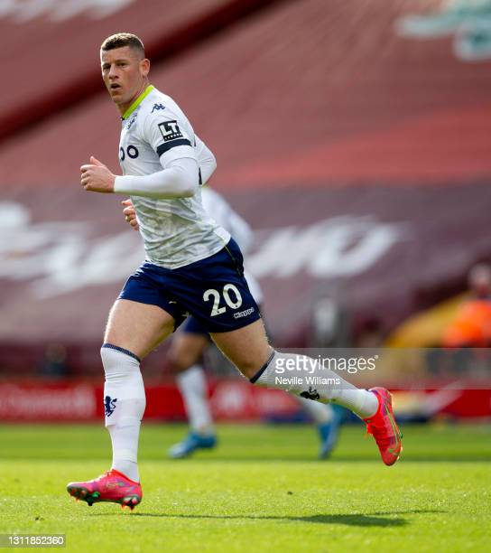 Ross Barkley of Aston in action during the Premier League match between Liverpool and Aston Villa at Anfield on April 10, 2021 in Liverpool, England....