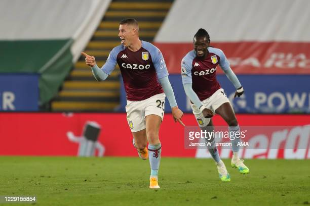 Ross Barkley of Aston Villa celebrates after scoring a goal to make it 01 during the Premier League match between Leicester City and Aston Villa at...