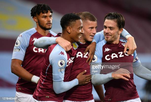 Ross Barkley of Aston Villa celebrates after scoring his team's fifth goal with his team during the Premier League match between Aston Villa and...