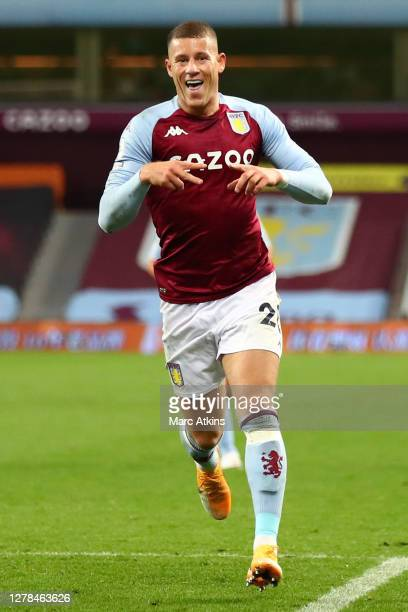 Ross Barkley of Aston Villa celebrates after scoring his team's fifth goal during the Premier League match between Aston Villa and Liverpool at Villa...