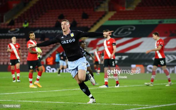 Ross Barkley of Aston Villa celebrates after scoring their side's first goal during the Premier League match between Southampton and Aston Villa at...