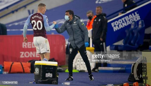 Ross Barkley of Aston Villa celebrates scoring for Aston Villa during the Premier League match between Leicester City and Aston Villa at The King...