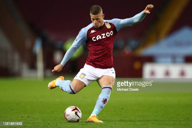 Ross Barkley of Aston Villa during the Premier League match between Aston Villa and Leeds United at Villa Park on October 23 2020 in Birmingham...