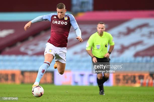 Ross Barkley of Aston Villa runs with the ball during the Premier League match between Aston Villa and Leeds United at Villa Park on October 23 2020...