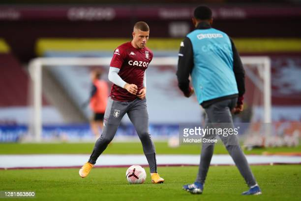 Ross Barkley of Aston Villa warms up prior to the Premier League match between Aston Villa and Leeds United at Villa Park on October 23 2020 in...
