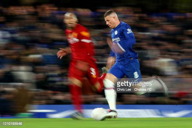 Ross Barkley of Chelsea and Fabinho of Liverpool during the FA Cup Fifth Round match between Chelsea FC and Liverpool FC at Stamford Bridge on March...