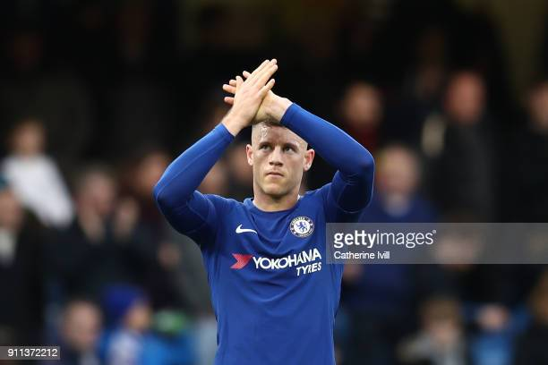 Ross Barkley of Chelsea applauds fans after The Emirates FA Cup Fourth Round match between Chelsea and Newcastle on January 28 2018 in London United...