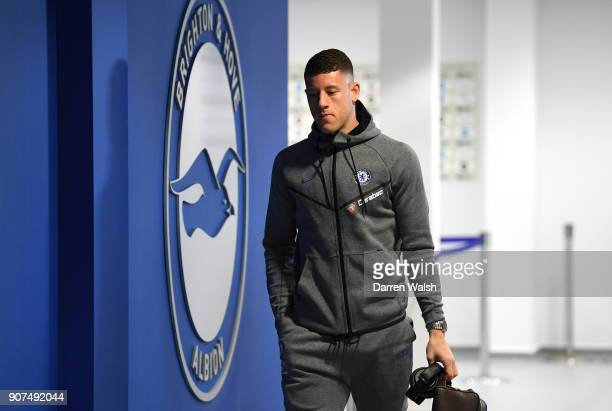 Ross Barkley of Chelsea arrives prior to the Premier League match between Brighton and Hove Albion and Chelsea at Amex Stadium on January 20 2018 in...