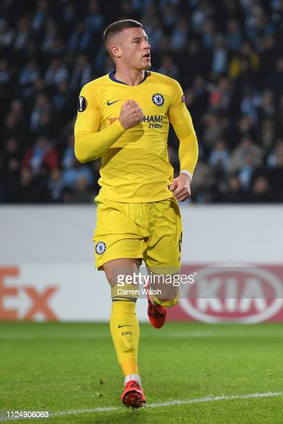 Ross Barkley of Chelsea celbrates after scoring his sides first goal during the UEFA Europa League Round of 32 First Leg match between Malmo FF and...