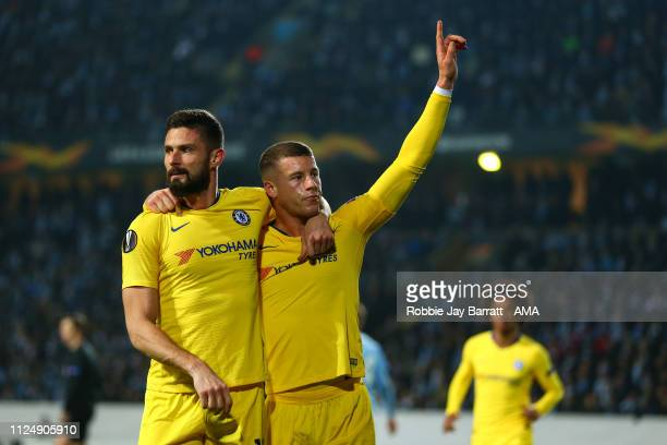Ross Barkley of Chelsea celebrates after scoring a goal to make it 01 during the UEFA Europa League Round of 32 First Leg match between Malmo FF and...