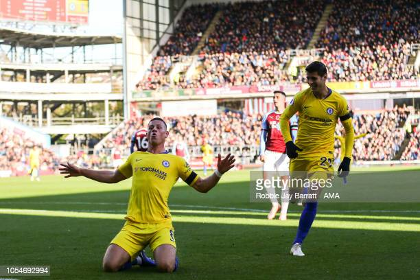 Ross Barkley of Chelsea celebrates after scoring a goal to make it 02 during the Premier League match between Burnley FC and Chelsea FC at Turf Moor...