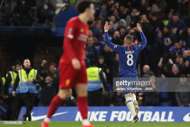 Ross Barkley of Chelsea celebrates after scoring a goal to make it 2-0 during the FA Cup Fifth Round match between Chelsea FC and Liverpool FC at...