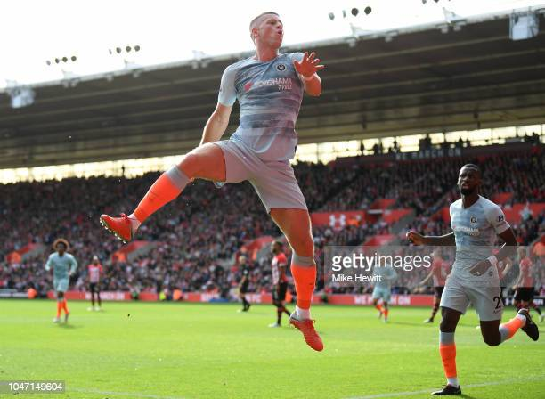Ross Barkley of Chelsea celebrates after scoring during the Premier League match between Southampton FC and Chelsea FC at St Mary's Stadium on...