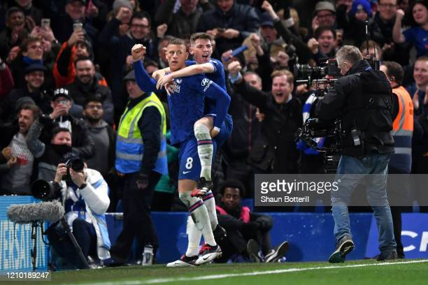 Ross Barkley of Chelsea celebrates after scoring his sides second goal with Billy Gilmour during the FA Cup Fifth Round match between Chelsea FC and...