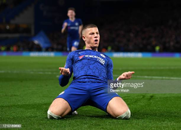 Ross Barkley of Chelsea celebrates after scoring his sides second goal during the FA Cup Fifth Round match between Chelsea FC and Liverpool FC at...