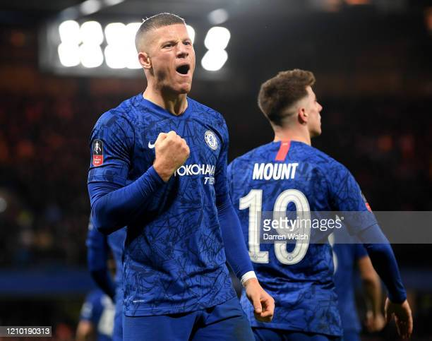 Ross Barkley of Chelsea celebrates after scoring his sides second goal with Jorginho during the FA Cup Fifth Round match between Chelsea FC and...