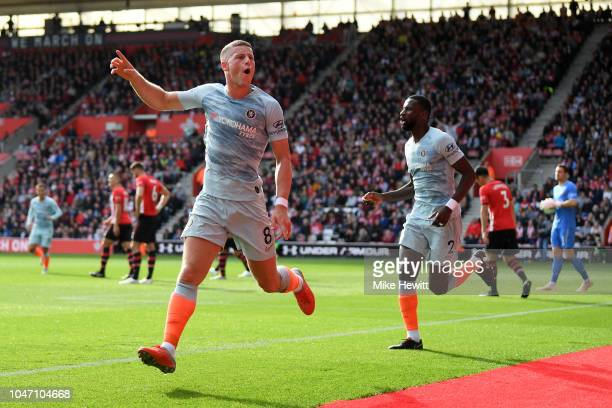 Ross Barkley of Chelsea celebrates after scoring his team's second goal during the Premier League match between Southampton FC and Chelsea FC at St...