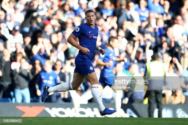 Ross Barkley of Chelsea celebrates after scoring his team's second goal during the Premier League match between Chelsea FC and Manchester United at...