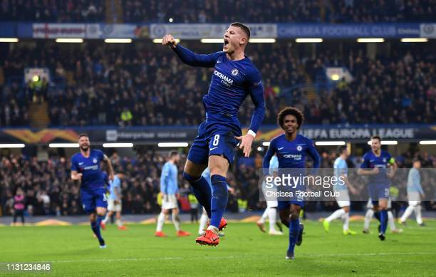 Ross Barkley of Chelsea celebrates after scoring his team's second goal during the UEFA Europa League Round of 32 Second Leg match between Chelsea...
