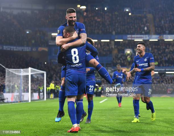 Ross Barkley of Chelsea celebrates after scoring his team's second goal with Olivier Giroud of Chelsea during the UEFA Europa League Round of 32...
