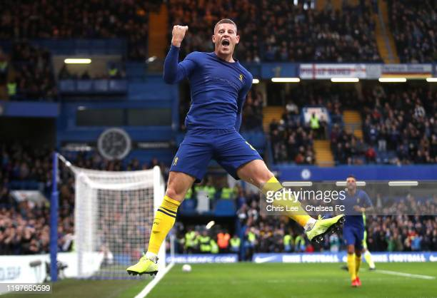 Ross Barkley of Chelsea celebrates after scoring his team's second goal during the FA Cup Third Round match between Chelsea and Nottingham Forest at...