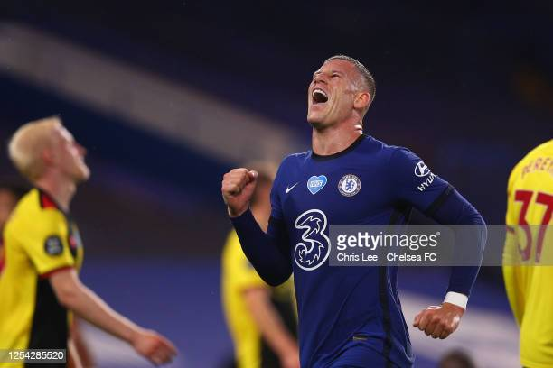 Ross Barkley of Chelsea celebrates after scoring his team's third goal during the Premier League match between Chelsea FC and Watford FC at Stamford...
