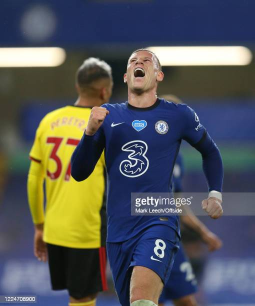 Ross Barkley of Chelsea celebrates after scoring the third goal during the Premier League match between Chelsea FC and Watford FC at Stamford Bridge...