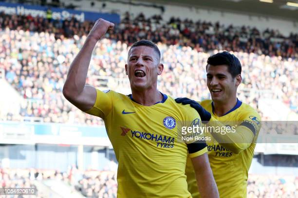 Ross Barkley of Chelsea celebrates scoring his teams second goal with Alvaro Morata during the Premier League match between Burnley FC and Chelsea FC...