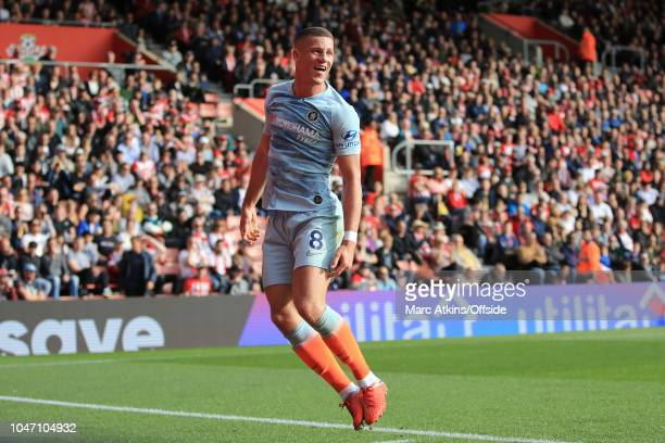 Ross Barkley of Chelsea celebrates scoring their 2nd goal during the Premier League match between Southampton FC and Chelsea FC at St Mary's Stadium...