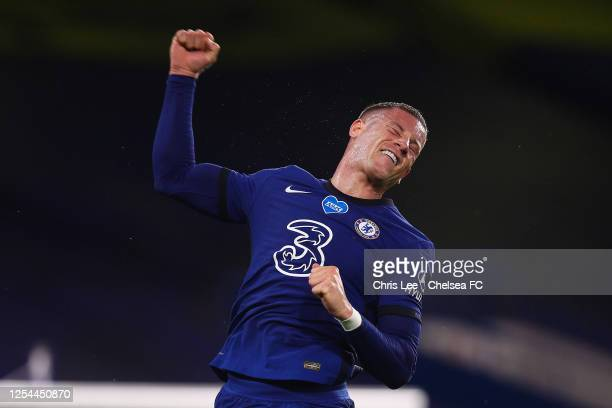 Ross Barkley of Chelsea celebrates scoring their third goal during the Premier League match between Chelsea FC and Watford FC at Stamford Bridge on...