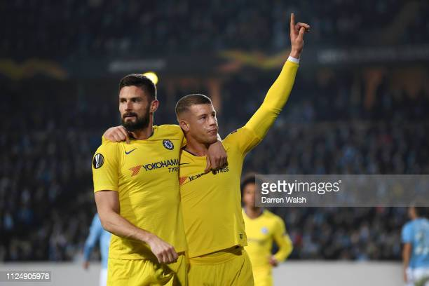 Ross Barkley of Chelsea celebrates with Olivier Giroud of Chelsea after he scores his sides first goal during the UEFA Europa League Round of 32...