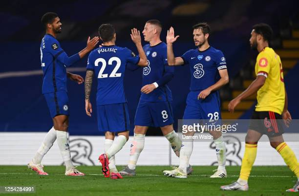 Ross Barkley of Chelsea celebrates with Ruben LoftusCheek Christian Pulisic and Cesar Azpilicueta after scoring his team's third goal during the...