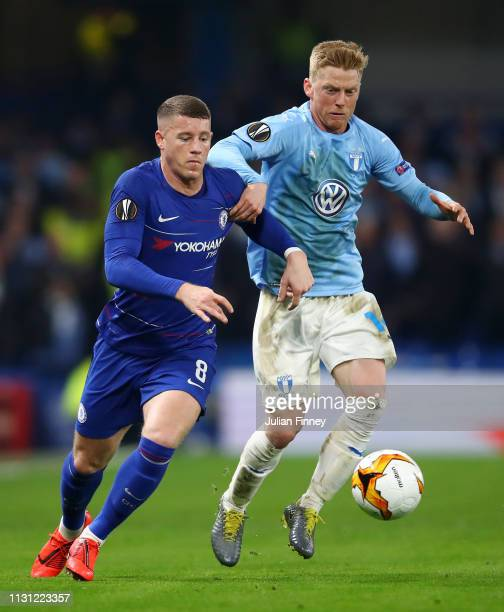 Ross Barkley of Chelsea challenges for the ball with Anders Christiansen of Malmo during the UEFA Europa League Round of 32 Second Leg match between...
