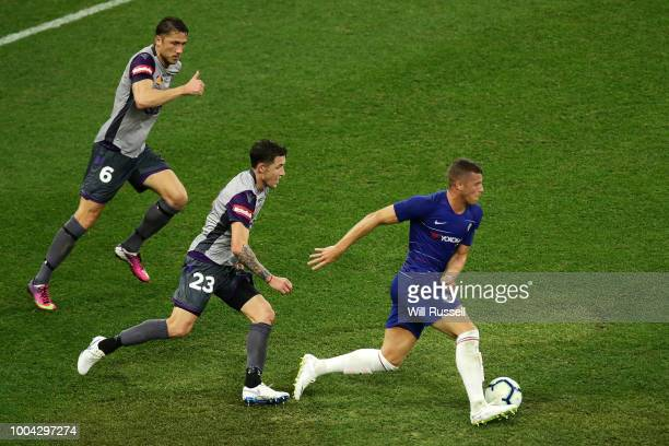 Ross Barkley of Chelsea controls the ball during the international friendly between Chelsea FC and Perth Glory at Optus Stadium on July 23 2018 in...