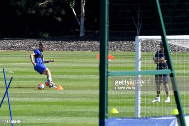 Ross Barkley of Chelsea during a self isolating small group training session at Chelsea Training Ground on May 20 2020 in Cobham England