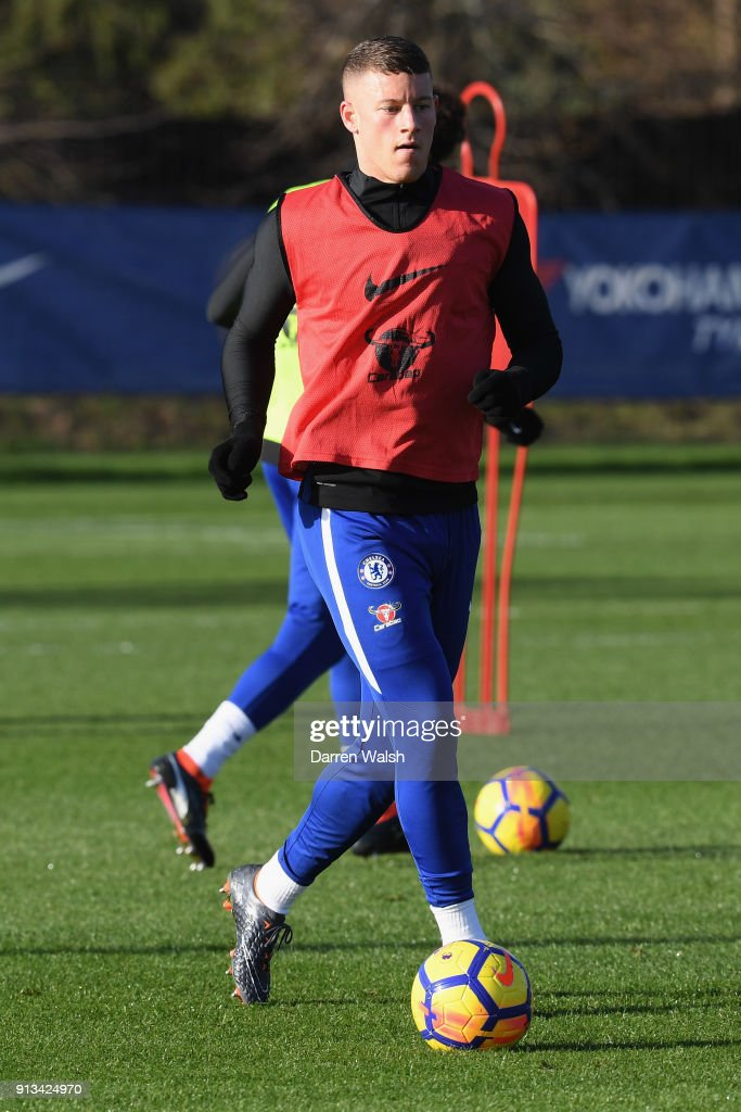 Ross Barkley of Chelsea during a training session at Chelsea Training Ground on February 2, 2018 in Cobham, England.