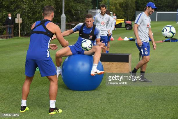 Ross Barkley of Chelsea during a training session at Chelsea Training Ground on July 10 2018 in Cobham England