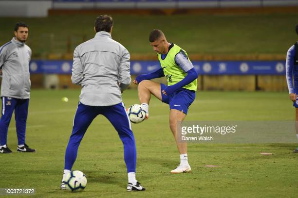 Ross Barkley of Chelsea during a training session at the WACA on July 22 2018 in Perth Australia