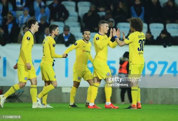 Ross Barkley of Chelsea FC celebrates after scoring to 01 during the UEFA Europa League Round of 32 First Leg match between Malmo FF and Chelsea at...
