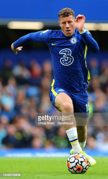 Ross Barkley of Chelsea FC controls the ball during the Premier League match between Chelsea and Norwich City at Stamford Bridge on October 23, 2021...