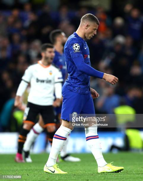Ross Barkley of Chelsea FC reacts after missing a penalty during the UEFA Champions League group H match between Chelsea FC and Valencia CF at...
