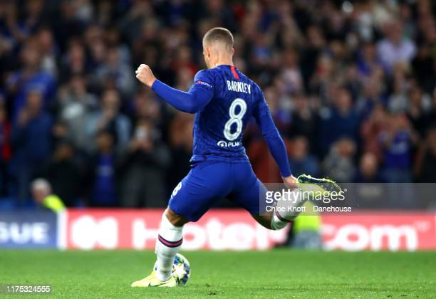 Ross Barkley of Chelsea FC takes a penalty for his team during the UEFA Champions League group H match between Chelsea FC and Valencia CF at Stamford...