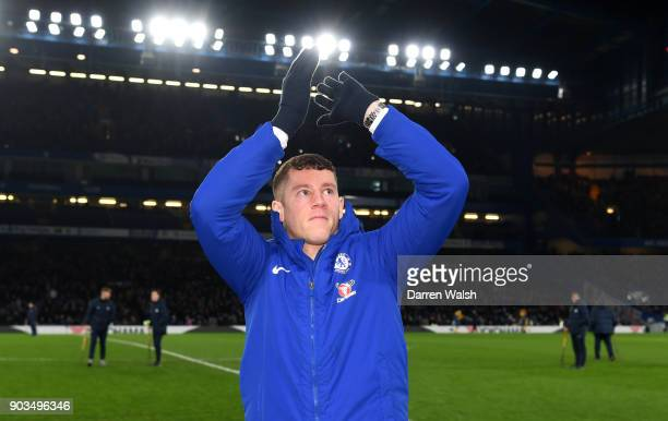 Ross Barkley of Chelsea is introduced to the Chelsea fans at half time during the Carabao Cup SemiFinal First Leg match between Chelsea and Arsenal...