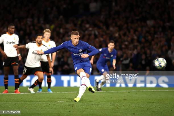 Ross Barkley of Chelsea misses a penalty during the UEFA Champions League group H match between Chelsea FC and Valencia CF at Stamford Bridge on...
